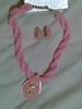 pink beaded earring n necklace set