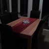 solid pine table and six choclate brown high back chairs