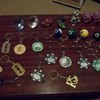 a collection of novelty ornaments and key rings