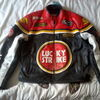 Lucky Strike red real leather jacket (size M) with armour ideal for suzuki gsxr biker