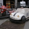 Amusement ride VW Bug and a Trike coin operated accumulator cars