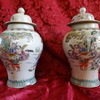 CHINESE FAMILLE VERTE HAND PAINTED 19TH CENTURY VASES SIGNED