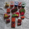 a nice selection of childrens ink stamps , some bob the builder