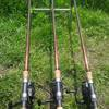 three custom built carp rods with bait runner