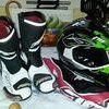 monster energy oneil helmet and motor x boots