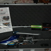 CopterX flybarless 450 helicopter in travel case.