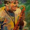 Tim Green New Orleans Saxophonist (tribute Acrylic painting on canvas)