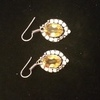 Citrine Earrings - Genuine Gemstone Jewellery .925 Sterling Silver Plated - new gift Christmas xmas