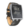 Pebble Steel SmartWatch Matte Black Leather & Steel Straps. For iPhone or Android