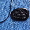 natural black green jade jadeite pendanton  of a  horse hand-carved
