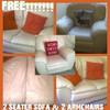 FREE 2 SEATER CREAM LEATHER SOFA + 2 MATCHING ARM CHAIRS NEED GONE NOW!!