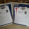 Wayne Rooney and David Beckham signed shirts, framed