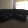 Dark blue leather recliner corner suite