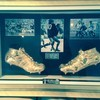 SIGNED GOLD RUGBY BOOTS BY SIR GARETH EDWARDS