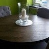 Dark oak table and 4 fabric chairs