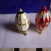 2 Decorative eggs on stands with box,s