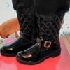 New Girls Black Patent/Fur Boots 13