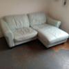 Leather corner sofa sky blue