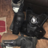 Boots size 8 and armour + knee pads