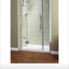 Shower door with glass side panels