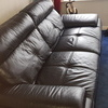 3 and 2 seater black leather sofas