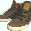 ADIDAS BROWN HI-TOPS. NEARLY NEW.