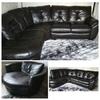 Leather corner sofa & cuddle chair