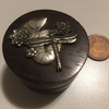 Wooden pill/coin case/box dragonfly
