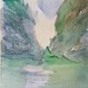 A5 square watercolour rocky river