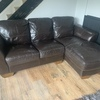 Brown Leather Corner & 2 Seat Sofa