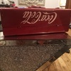 Old Coca-Cola metal box and sighn